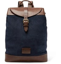 Andersons Suede And Leather Backpack Navy
