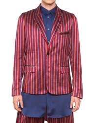 Damir Doma Chelsea Striped Silk Satin Jacket Red Blue