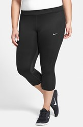 Nike Plus Size Women's 'Essential' Dri Fit Capris Black Reflective Silver