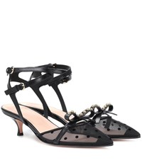 Red Valentino Soft Bow Leather Slingback Pumps Black