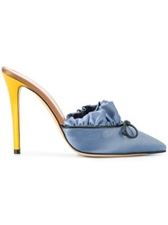 Marco De Vincenzo Pleated Pointed Toe Mules Blue