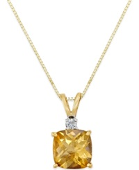 Macy's Citrine 1 1 2 Ct. T.W. And Diamond Accent Pendant Necklace In 14K Gold