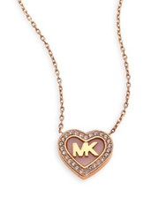 Michael Kors Logo Heart Pave Pendant Necklace Rose Gold