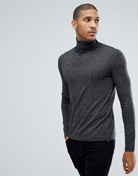 Tom Tailor Polo Neck Jumper In Charcoal 2999 Black