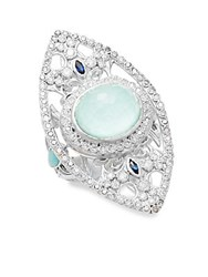 Armenta New World Reconstituted Green Turquoise Opal Sapphire Diamond And Sterling Silver Ring