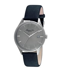 Kenneth Cole Stainless Steel And Leather Strap Watch 10029304 Black