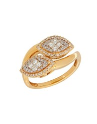 Lord And Taylor Andin 14K Gold Diamond Pave Wrap Ring 0.50 Tcw Yellow Gold