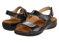 Wolky Liana Black Smooth Leather Women's Sandals