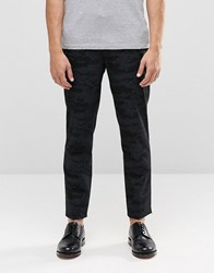 Asos Skinny Smart Trousers In Black Camo Black