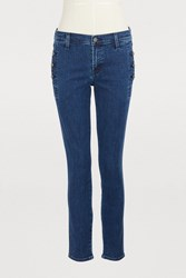 J Brand Zion Button Mid Rise Skinny Jeans Static