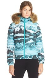 Women's Merrell 'Silversun' Featherless Water Resistant Puffer Jacket With Faux Fur Trim Hood Landscape