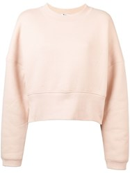Alexander Wang T By Cropped Casual Sweatshirt Nude And Neutrals