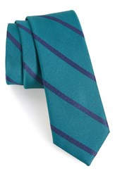 The Tie Bar Wheelhouse Stripe Silk Skinny Teal