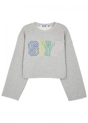 Sjyp Grey Logo Embroidered Cropped Sweatshirt