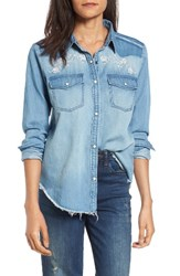 Sun And Shadow Women's Embroidered Chambray Shirt