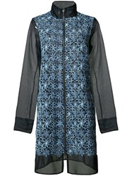 Elie Tahari High Neck Zipped Coat Blue