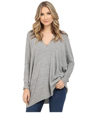 Culture Phit Jana Ribbed V Neck Sweater Heather Grey Women's Sweater Gray