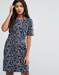 Trollied Dolly Shifty Sista Floral Print Dress Blue Floral