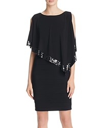 Adrianna Papell Matte Jersey Sequined Capelet Dress Black