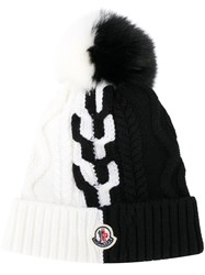 Moncler Two Tone Logo Beanie Black