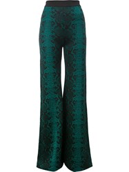 Balmain Patterned Flared Trousers Green