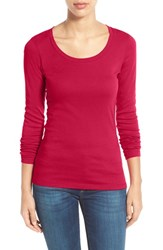 Caslonr Women's Caslon 'Melody' Long Sleeve Scoop Neck Tee Red Barberry
