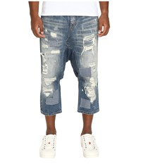 Mostly Heard Rarely Seen Distressed Enzo Drop Crotch Jeans Light Indigo Men's Jeans Blue