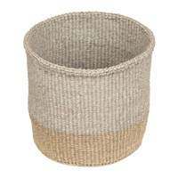 The Basket Room Linear Fusion Mbili Hand Woven Grey Brown Brown Grey