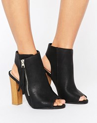 Call It Spring Saviel Peeptoe Shoe Boots Black Synthetic