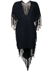 Caravana Fringed Asymmetric Dress Blue