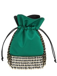Les Petits Joueurs Nanotrilly Satin Clutch W Crystal Fringe Green