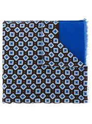 Corneliani Jacquard Raw Edge Scarf Blue