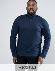 Asos Plus Long Sleeve Jersey Polo In Navy Navy