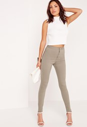 Missguided High Waisted Skinny Jeans Khaki Beige
