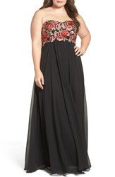 Decode 1.8 Plus Size Women's Floral Applique Strapless Gown