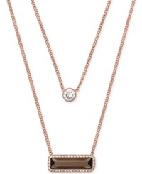 Michael Kors Rose Gold Tone Smoky Quartz And Crystal Layered Necklace