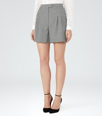 Reiss Maxine Short Womens Patterned Tailored Shorts In White