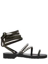 Giuseppe Zanotti 20Mm Swarovski Suede Lace Up Sandals