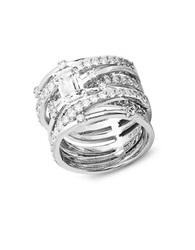 Crislu Center Stone Cubic Zirconia Sterling Silver And Platinum Abby Stack Ring