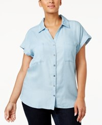 Style And Co Plus Size Short Sleeve Denim Shirt Only At Macy's Ice Wash