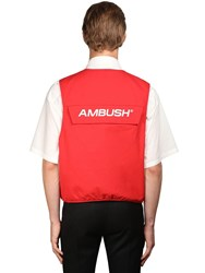 Ambush Logo Multi Pocket Cotton Utility Vest Red