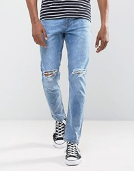 Antioch Stretch Ripped Skinny Jeans In Light Blue Stone Wash Blue