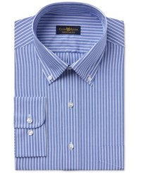 Club Room Estate Men's Wrinkle Resistant Classic Blue Stripe Dress Shirt Only At Macy's