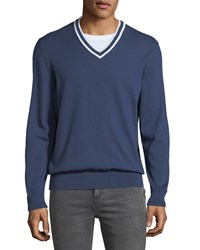 Michael Kors Cotton V Neck Sweater W Tipping Blue
