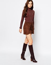 Pull And Bear Pullandbear Brown Suedette Lace Up Skirt Black