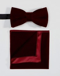 Peter Werth Bow Tie And Pocket Square Set Red