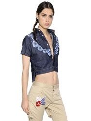 Dsquared2 Cropped Floral Print Stretch Denim Shirt