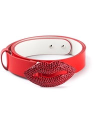 Philipp Plein Lips Buckle Belt Red