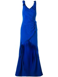 Moschino Stepped Hem Draped Evening Dress Blue
