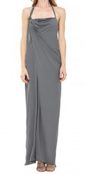 Leon Max Stretch Silk Floor Length Halter Dress